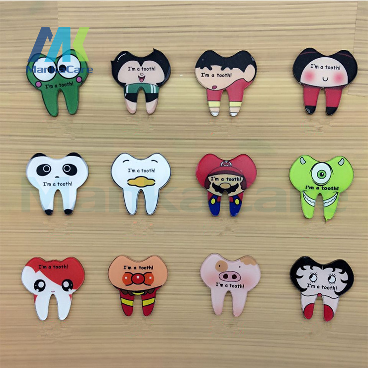 12 Pcs Japanese Harajuku Style Cartoon Healthy Teeth Acrylic Brooch Pin No Phone Shell DIY Patch
