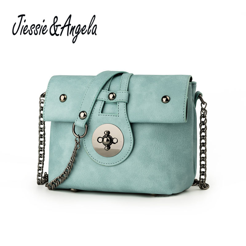 Jiessie & Angela Famous Brand Women Candy Color Messenger Bag With Chains PU Leather Women Shoulder Bags Small Mini Summer Bag fashionable women s shoulder bag with candy color and engraving design