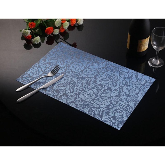 1piece Pvc Square Dining Table Placemats Gold Red Blue Black Color Mat Bowl Pad Cloth