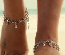 2015 Fashion Charm Anklets Vintage Foot Jewelry Ancient Silver Plated Flower coin Ankle Chain Bracelet for sexy women