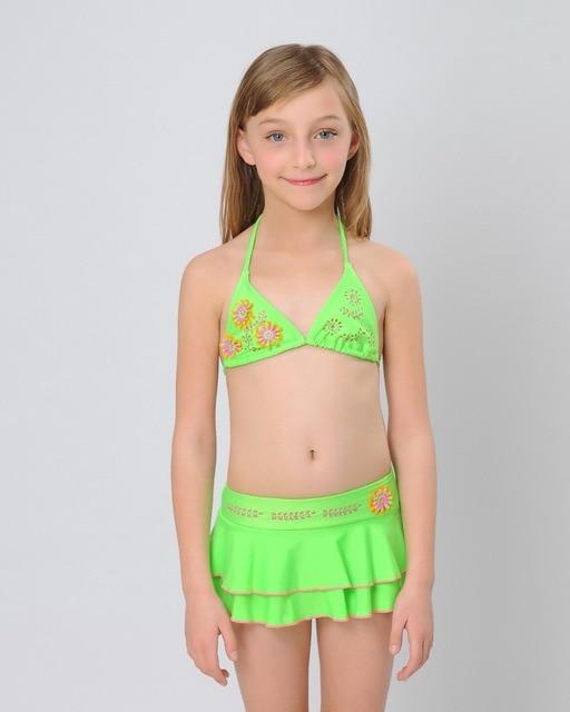 HIHEART 2015 Brand Girls Bikini Swim Skirt Children Skirted Bathing Suit 3D  Floral Swimwear Layer Swim Skirt Summer Girl Clothes