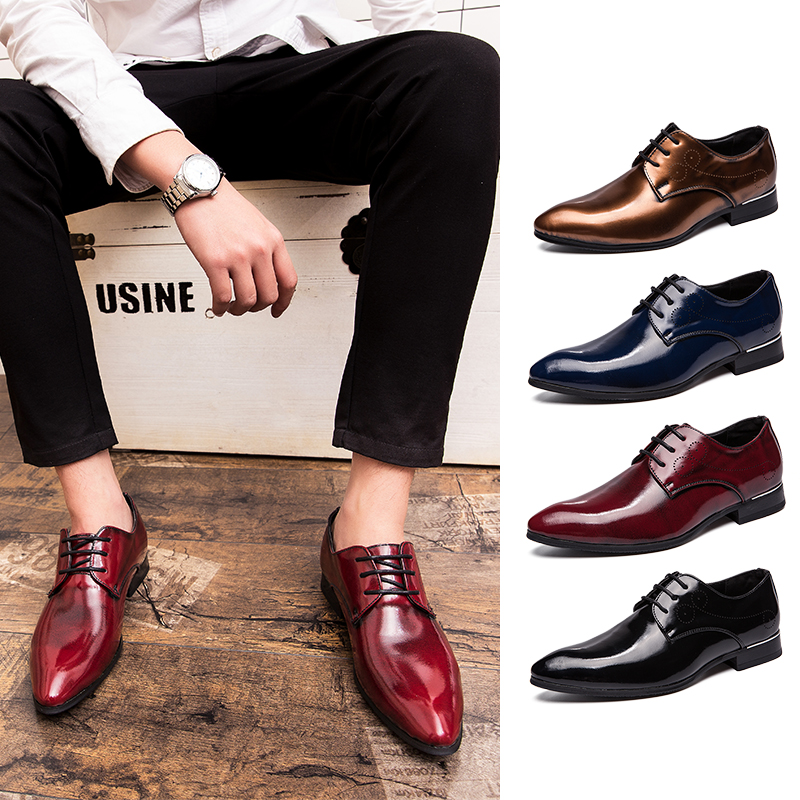 Formal British Pointed Color Laced Leather Shoes Men's Shoes Mens Dress Oxford Shoes For Men Wedding Chaussure Homme Buty Meskie