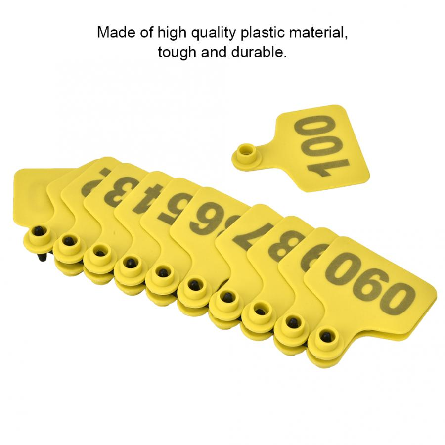 100 Sets Ear Tag Plastic Livestock Tag For Goat Sheep Pig Cow Number 1-500