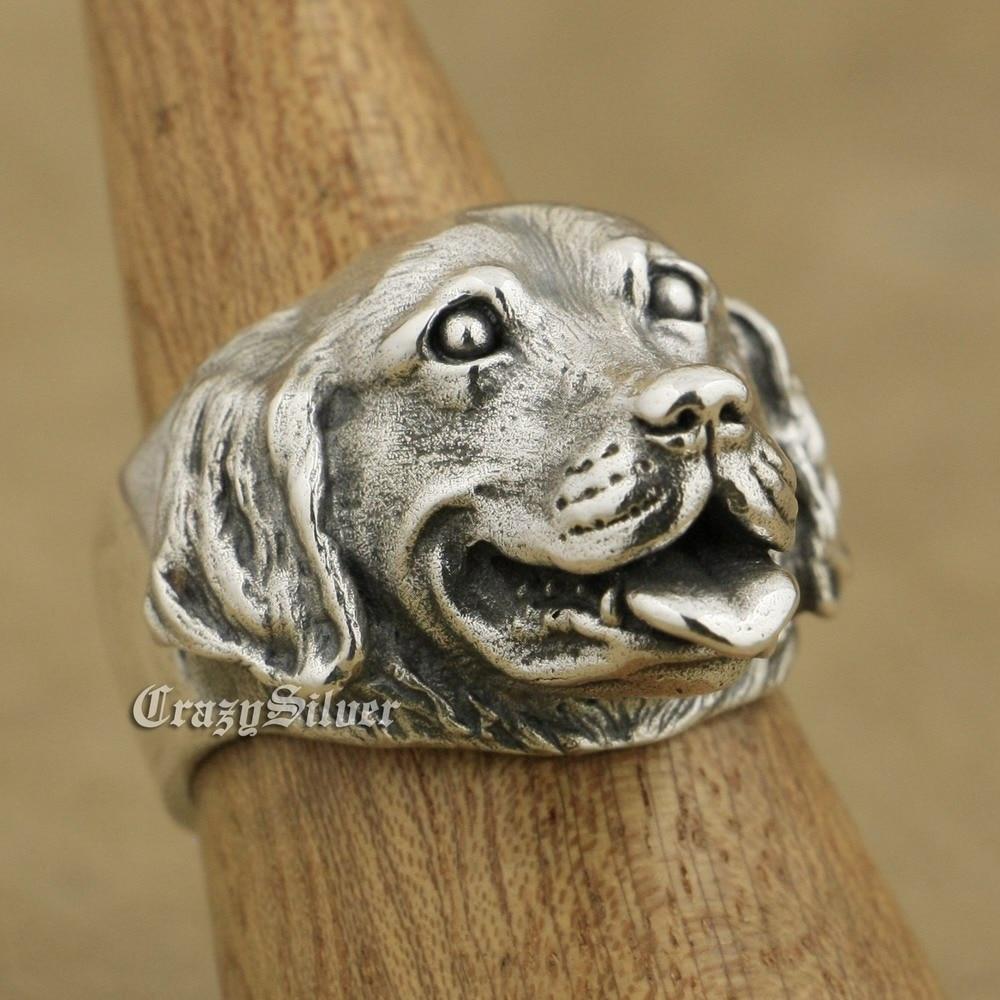 LINSION 925 argent Sterling Golden Retriever mignon chien charmes anneau TA32 taille américaine 7 ~ 15