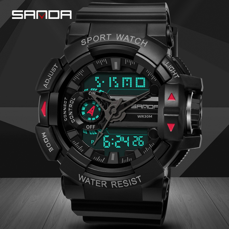 SANDA Men's Sports Digital Watches Male Military Quartz Wrist Watches Top Brand Digital-Watch Waterproof Relogio Masculino
