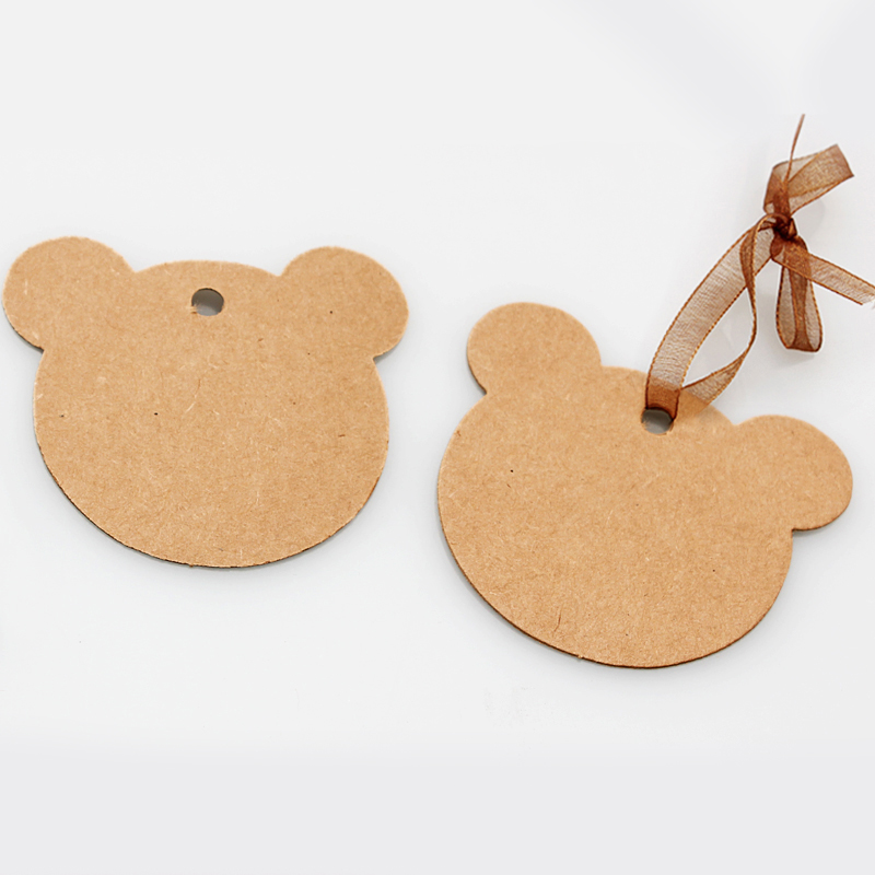 60*57mm 100pcs Bear Kraft Label Inventory Tags Wedding Packing ...