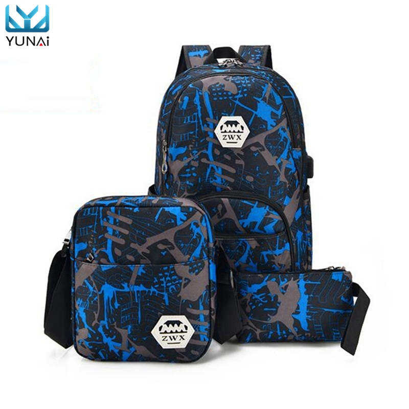 YUANI USB Charging Backpack Waterproof Canvas Laptop Bag School Backpacks New Notebook Bag Two Small bag For Women Men