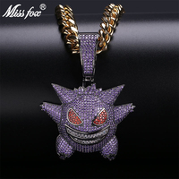 Missfox Hip hop Funny Ghost Cartoon Men Pendant Necklace Fashion Oversized Copper Metal Zircon Gold Necklaces Best Gift Jewelry