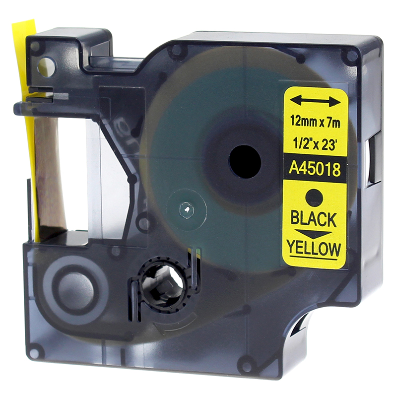 US $3 49 |1 Pack Adhesive Black on Yellow Label Tape Compatible For Dymo D1  45018 ,1/2 Inch ,LabelManager 280 Labeling Maker-in Printer Ribbons from