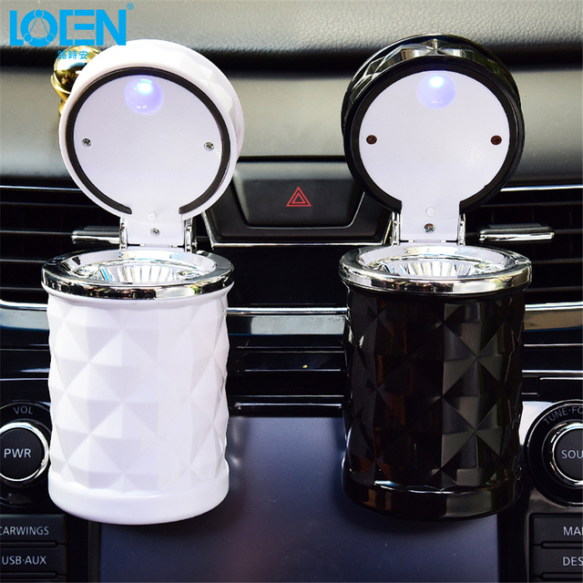 LOEN Car Styling Round ash bucket super bright LED lights office car air outer Hanging cup Holder Ashtray 3colors Universal