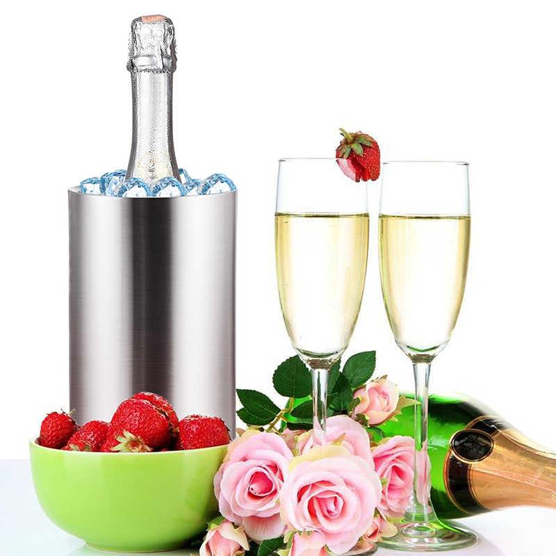 UPORS enfriador de vino Cubo de acero inoxidable de doble pared para botella de vino enfriador de cerveza enfriador de champán
