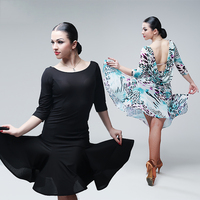 Comfort Latin Dancing Dress For Ladies Black Lake Blue Color Backless Velvet Women Square Latino Indian Galop Trot Clothes B35