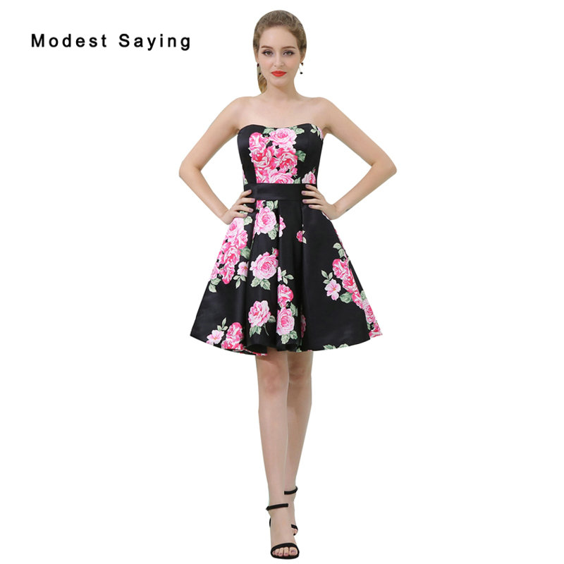 Sexy Black A-line Floral Print Short   Cocktail     Dresses   2017 Girls Formal Mini Homecoming Prom Gowns vestidos de coctel B039