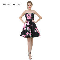 Sexy Black A Line Floral Print Short Cocktail Dresses 2017 Girls Formal Mini Homecoming Prom Gowns