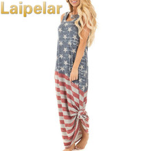 2018 Summer Sleeveless Dress Women American Flag Printed Women Clothing Casual Long Maxi Dresses Vestidos Laipelar Casual Dress noble strapless american flag pattern long dress for women