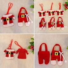 6Pcs Christmas Santa Decoration Cutlery Fork Spoon Covers Festival Table Ornament 6QAW