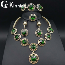 fashion classic Wedding engagement crystal  African Dubai  bridal bridesmaid  jewelry set for women necklace earrings rings