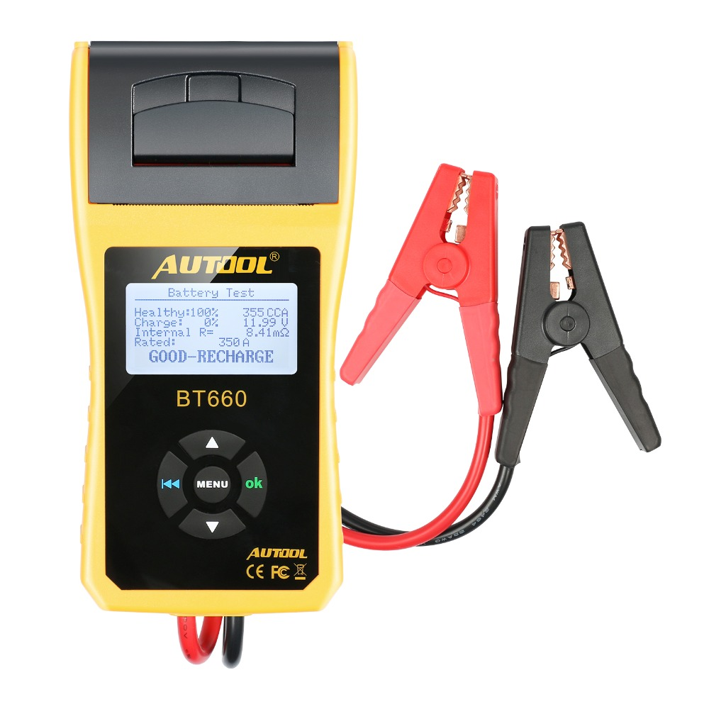 AUTOOL BT660 Car Battery Tester with font b Printer b font BT660 Battery Analyzer for Flooded