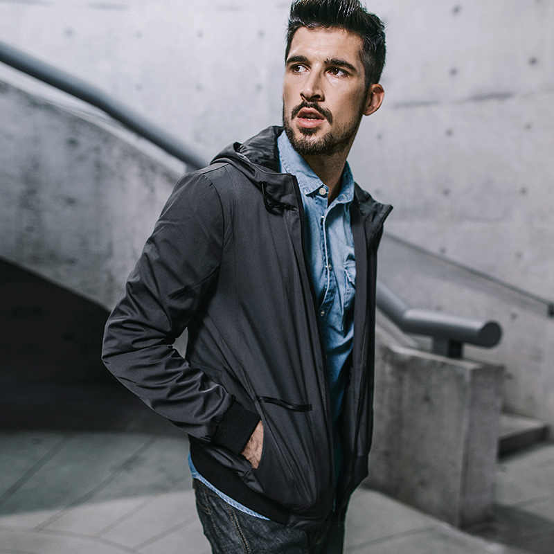 KUEGOU Neue Herbst Herren Mit Kapuze Jacken Und Mäntel Patchwork Zipper Grau Farbe Marke Kleidung Für Mann der Dünne Kleidung Männlich tops 3843