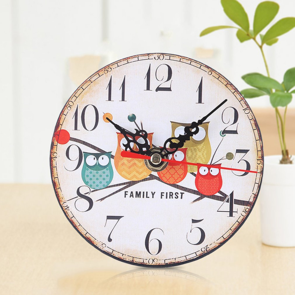 BZ298 Round Imitation Wood Small Alarm Clock Owl Pattern Living Room Bedroom Study Office 22# /26# Single Face Clock