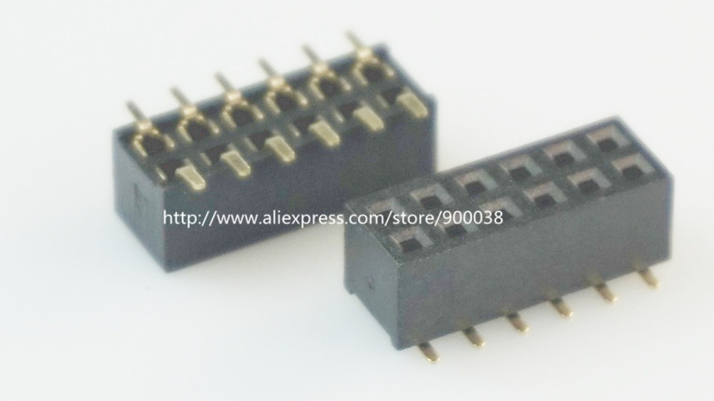 100pcs 2x6 P 12 Pin 1.27mm Pitch Pin Header Female Dual Row Smt Straight Surface Mount Pcb Rohs Lead Free Connectors Lighting Accessories