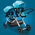 Busybaby gemelos cochecito de bebé doble asientos de cochecito paisaje de alta niño puede sentarse o acostarse cochecito de bebé