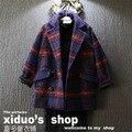 Novo 2015 moda outono inverno inglaterra estilo estilo de lã quente teste padrão da manta do bebê casaco menina terno 2 ~ 7 age crianças roupas casaco