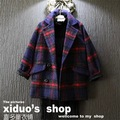 new 2015 autumn winter fashion England style style woolen warm plaid pattern baby girl jacket suit 2~7 age kids clothes coat