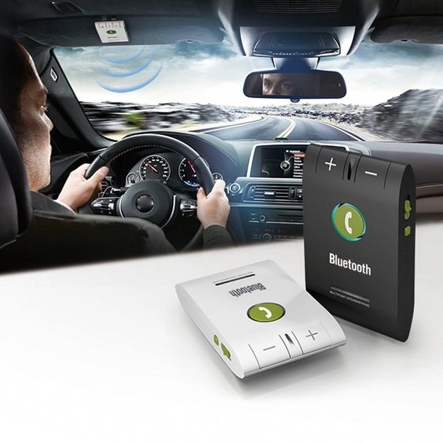 SITAILE Handsfree Bluetooth 4.0 Speakerphone Wireless phone Auto Car Kit with Car Charger A2DP support voice Call ID report
