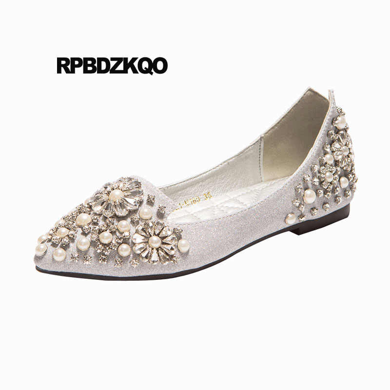 5e127a8829b675 Diamond Wedding Ballet Shoes Glitter Pointed Toe Silver Sparkling Beautiful  Party Rhinestone Women Flats Pearl Sequin
