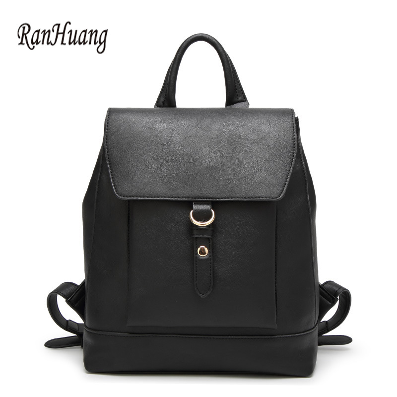 ФОТО RanHuang Women Korean Backpack High Quality PU Leather Backpack Ladies Black Brown Vintage Bags School Bags For Teenage Girls