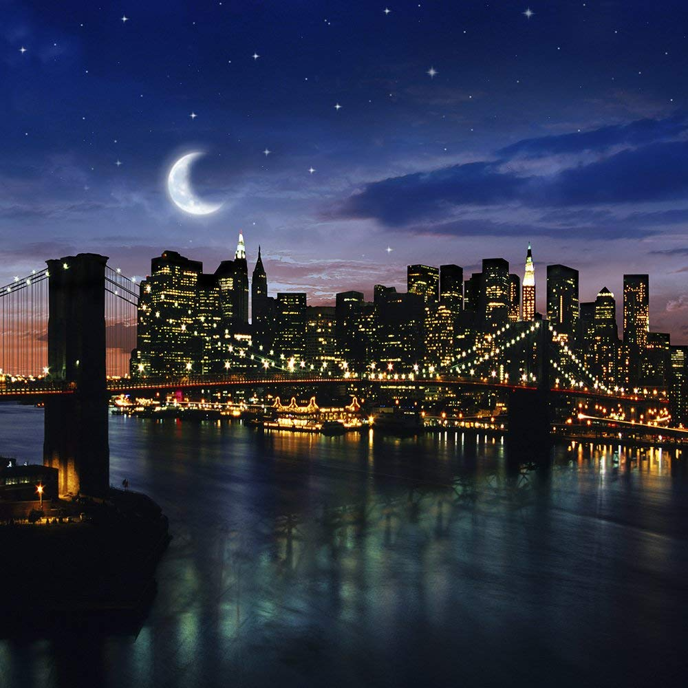new york bridge city skyline crescent moon river photography backgrounds Computer print scenic photo backdrop|Background| |  - title=