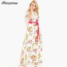 Misszonee женщины длинные платья Лето Чешского Стиль распечатать однобортный vestidos с поясом платье(China (Mainland))