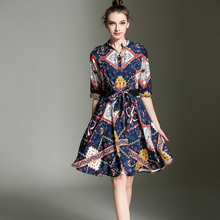 Early Autumn New 2016 European Fashion, Cultivate One's Morality Show Thin Printed Dresses Empire Women for Cloth