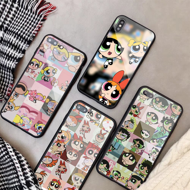 Powerpuff Girls Tempered Glass Phone Case For iPhone X XR XS XS Max For iPhone 5 SE 5S 8 7 6 6S Plus