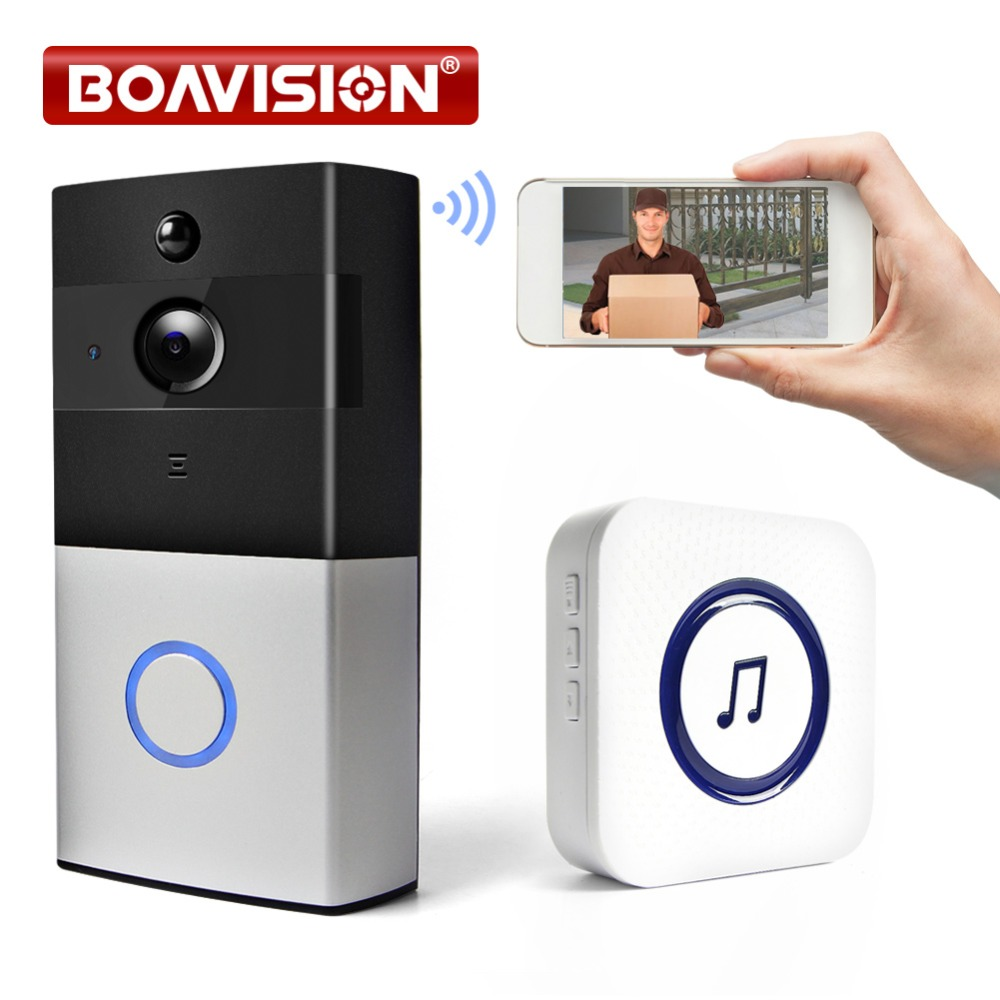 720P Wireless WiFi Video Doorbell 1.0MP Doorbell Camera Night Vision Two-Way Audio Battery Operation Waterproof +Indoor Button ...
