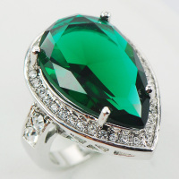 Emerald White Topaz Women 925 Sterling Silver Ring F965 Size 6 7 8 9 10
