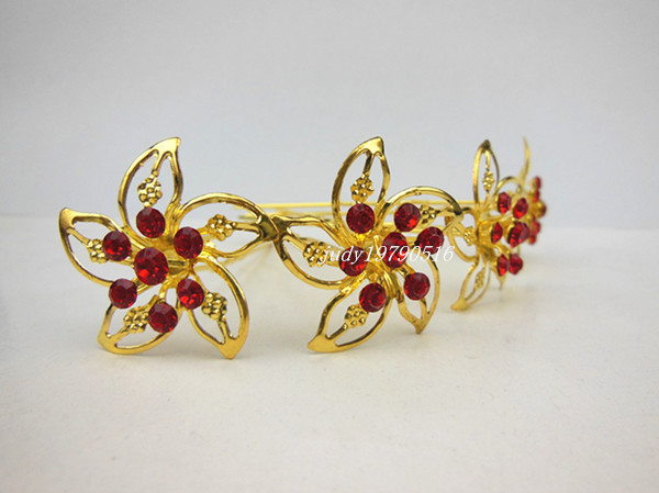 30 pcs/lot women new fashion hair accessories Wedding Bridal Gold Windmill Red Rhinestone Crystal hair ornament