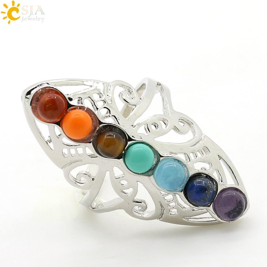 CSJA 7 Chakra Batu Manik Jari Cincin Reiki Balance Meditasi - Perhiasan fashion - Foto 3