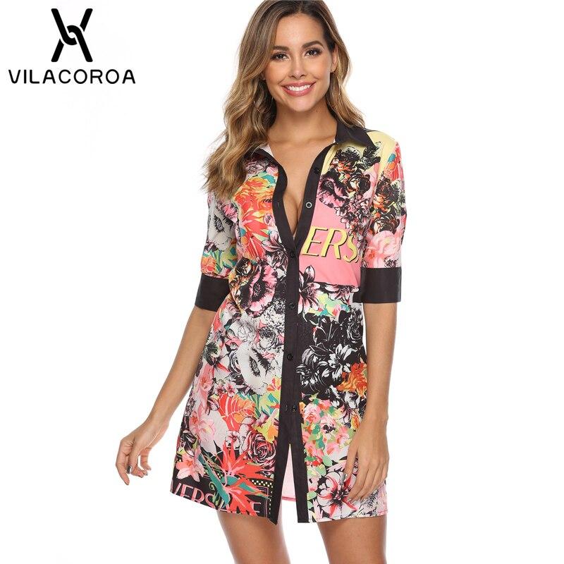 Fashion Sexy Print Women Blouses And Tops Lapel Button Middle Sleeve Long Blouses Bluzki Damskie Leisure Blusas Chemise Femme
