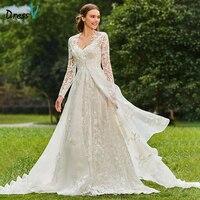 Dressv שמלות כלה ארוכה שרוולי קו V צוואר חתונה מותאמת אישית כנסיית גן אלגנטי משפט רכבת תחרת שתי חתיכות שמלות