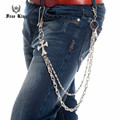 Crystal Iced Out Alloy Cross Joint 2 Layers Metal Snail Link  Waist Key Chain Silver Color Punk Jeans Pant Chain J47