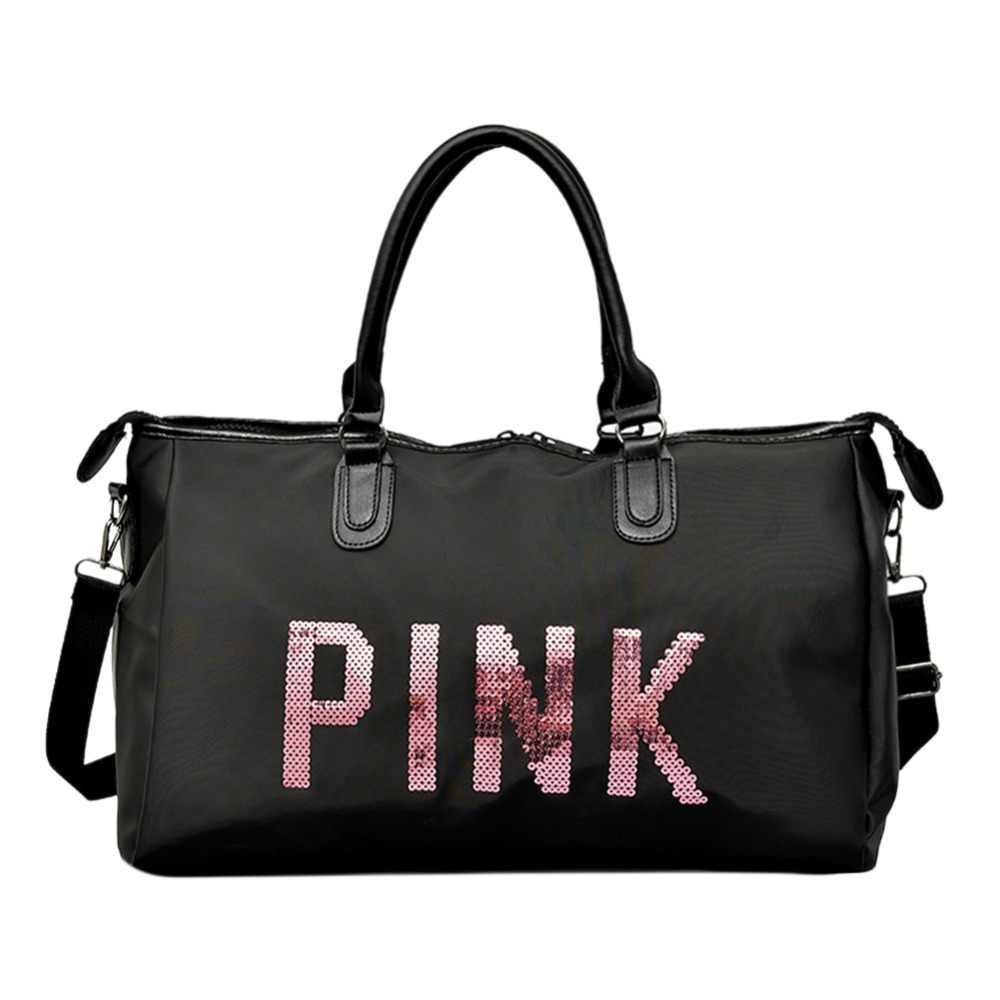 e5a90ceb3e2e Для женщин спортивная сумка нейлон непромокаемые Training фитнес дорожная  сумка блёстки большой ёмкость Розовый Путешествия плеча