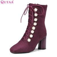 QUTAA 2018 Women Mid Calf Boots Square Toe Zipper Design High Quality Square High Heel Westrn