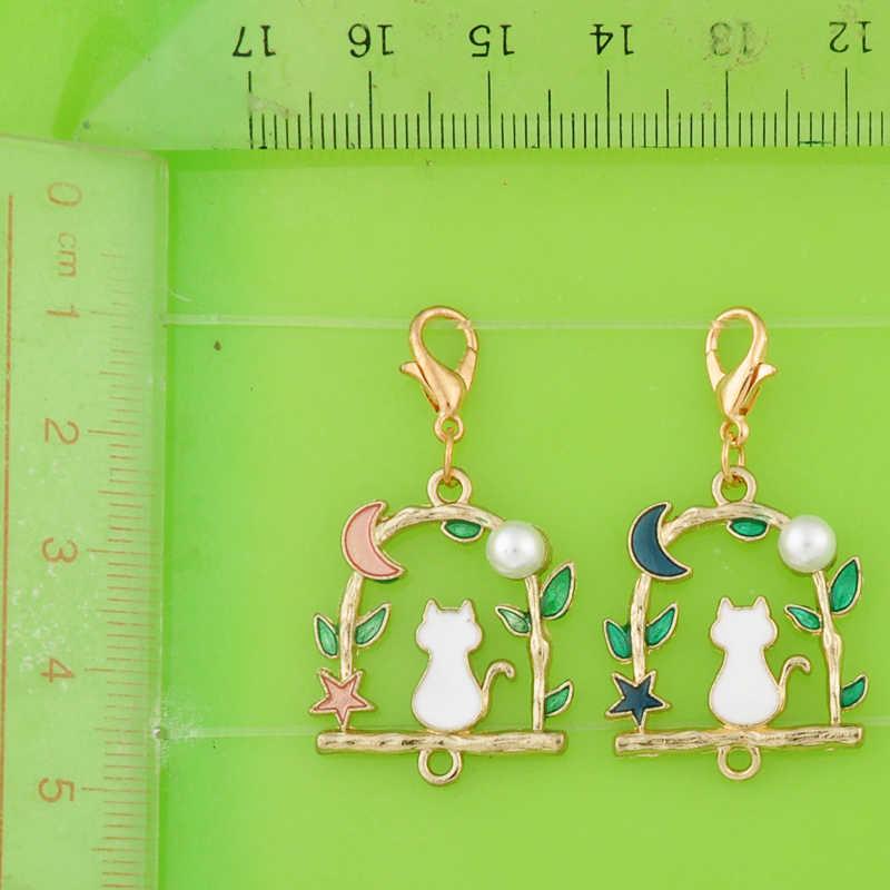 DIY de metal balançar esmalte lua estrela gato conector pingentes encantos com fecho para pulseira/colar de jóias/brinco fazendo charme