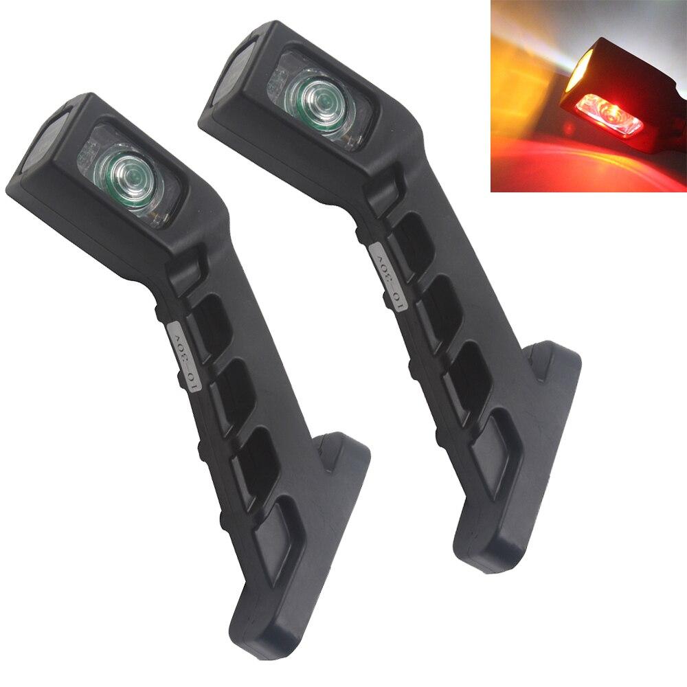 1 Pair 10-30V Truck Trailer Auto 4 LED Side Marker Lights Stop Lamp Indicator Light Turn Signal  Red White Amber