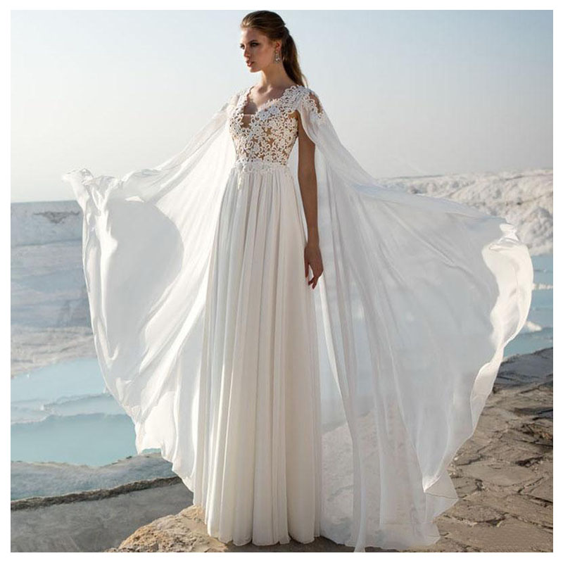 LORIE Wedding Dress With Shawl Vintage Lace Appliques Beach Bride Dress Chiffon Princess Boho Wedding Gown Floor Length 2019