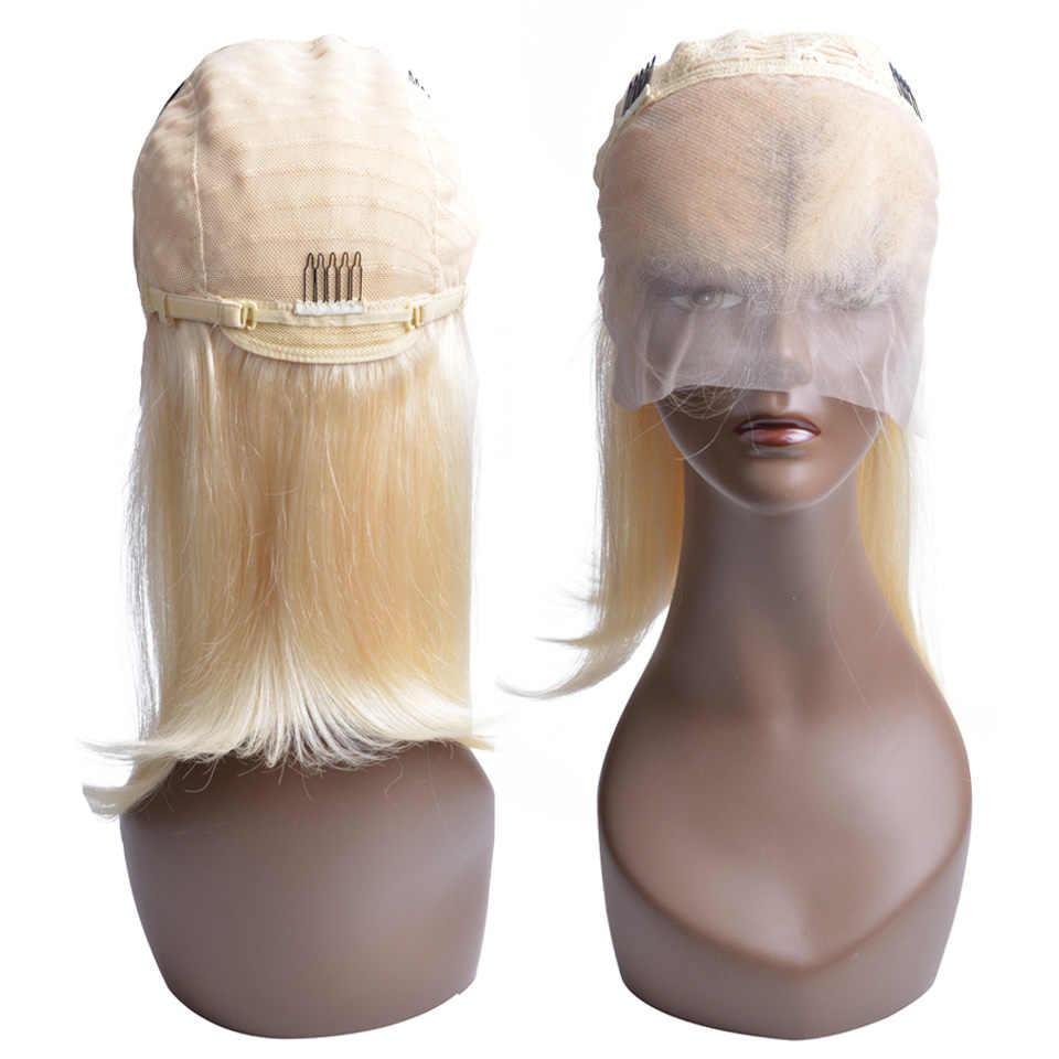 613 светлые парики шнурка для черных женщин 13*4 предварительно выщипанные парики фронта шнурка бразильские короткие парики боб с волосами младенца