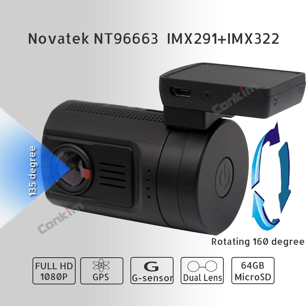 Conkim DVR с 2 камерами Novatek 96663 Автомобильный видеорегистратор Mini0906 1080P Full HD камера заднего вида gps видеорегистратор Двойной объектив Регистратор - 2