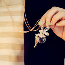 Chain Necklace Fashion Gold Plated Crystal Angel Wings Jewelry Women